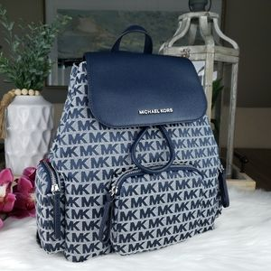 🌺NWT Michael Kors LG Cargo Abbey backpack navy MK